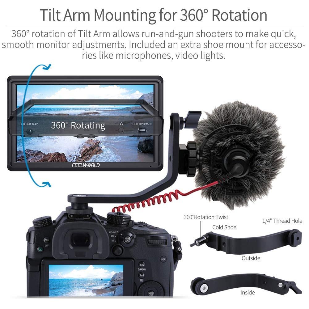 FEELWORLD S55 5.5 inch Camera DSLR Field Monitor Small Full HD 1280x720 IPS Video Peaking Focus Assist with 4K HDMI 8.4V DC Input Output Include Tilt Arm