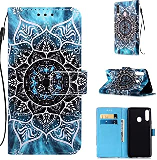 NiaCoCo Kompatibel med Samsung Galaxy A20s telefonfodral flip fodral läder med kortplats plånbok 3D-mönster magnetiskt spä...