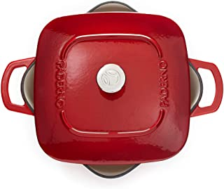 Paderno Dutch Oven   Cast Iron Cookware with Stainless-Steel Knob   6.5 Quarts, Red