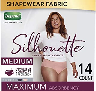 Depend Silhouette Incontinence and Postpartum Underwear for Women, Maximum Absorbency, Disposable, Medium, Pink and Black,...