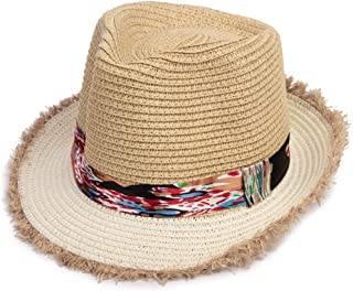 LONGren Boys and Girls Straw Hats, Summer Travel Sunscreen Baby Children's Beach Hat Baby Sun Hat (Color : Beige)