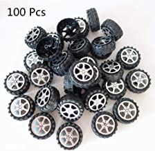 100 Pcs Plastic Roll 2mm Dia Shaft Toys Car Wheel for DIY Model Toy RC Car Truck Building Projects