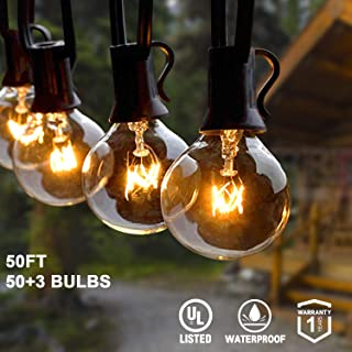 AVANLO 50Ft G40 String Lights with 50 Globe Clear Bulbs & 3 Spare Bulbs Waterproof IP44 Patio Hanging Lights for Indoor & Outdoor Decor UL Listed Maximum 100 Bulbs Extend