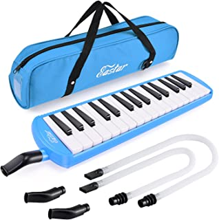 Eastar 32 Key Melodica Instrument Keyboard Soprano Air Piano with Mouthpiece, Carrying Bag, Blue