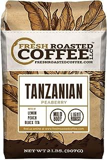 Fresh Roasted Coffee LLC, Tanzanian Peaberry Coffee, Light Roast, Whole Bean, 2 Pound Bag