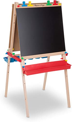 Melissa & Doug 1282 Deluxe Standing Art Easel- Dry-Erase Board, Chalkboard, Paper Roller