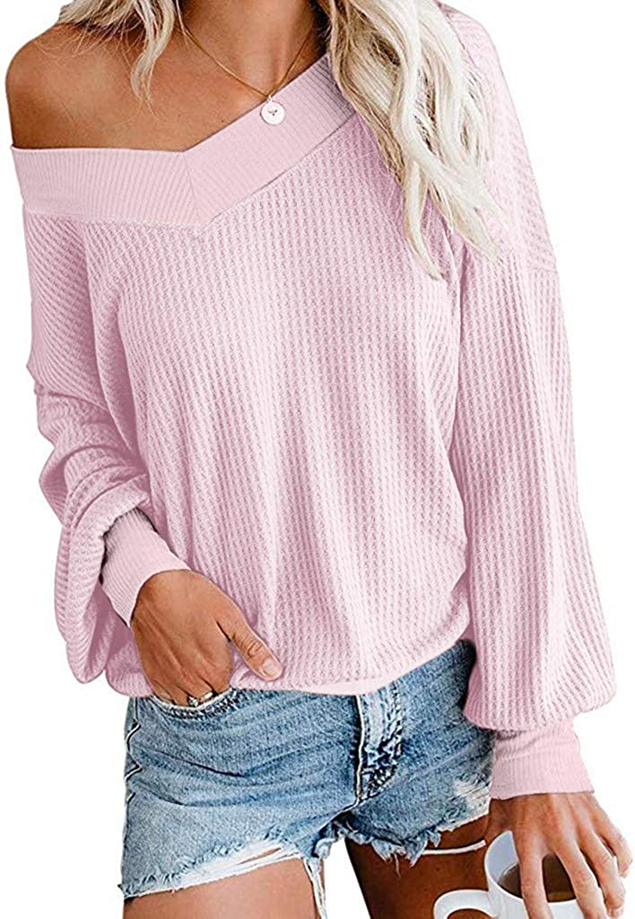 XUETON Women V-Neck In stock Fashion Tops Long Sleeve Shoulder Knit Off L Ranking TOP8