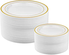 50 Piece Gold Plastic Plates - 25 Dinner Plates and 25 Salad Plates   Plastic Plates For Parties   Gold Plates   Party Pla...