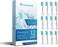 12 Pack of Premium Philips Sonicare Brush Heads by Versasonic: Toothbrush Heads are Compatible with: DiamondClean,...