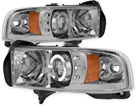 For Dodge Ram 1500/2500/3500 Pickup Smoke Halo Ring LED Projector Replacement Headlights Left/Right