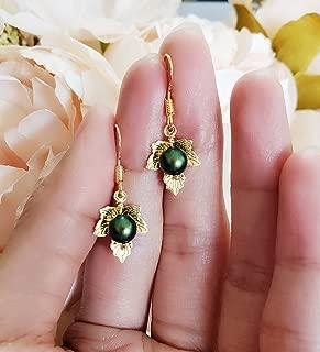 Pea in a Pod Gold Leaf Earrings, Swarovski Emerald Pearl for MAY Pea Pod Gold Leaf Earrings with 925 Sterling Silver Fish Hooks