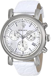 Versace Day Glam Women'S Silver Dial Leather Band Chronograph Watch - Vlb010014, White,