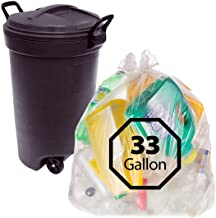 Primode 33 Gallon Recycling Trash Bags - 100 Count Heavy Duty Clear Garbage Bags for Indoor Or Outdoor Use 33x39 Made in The USA
