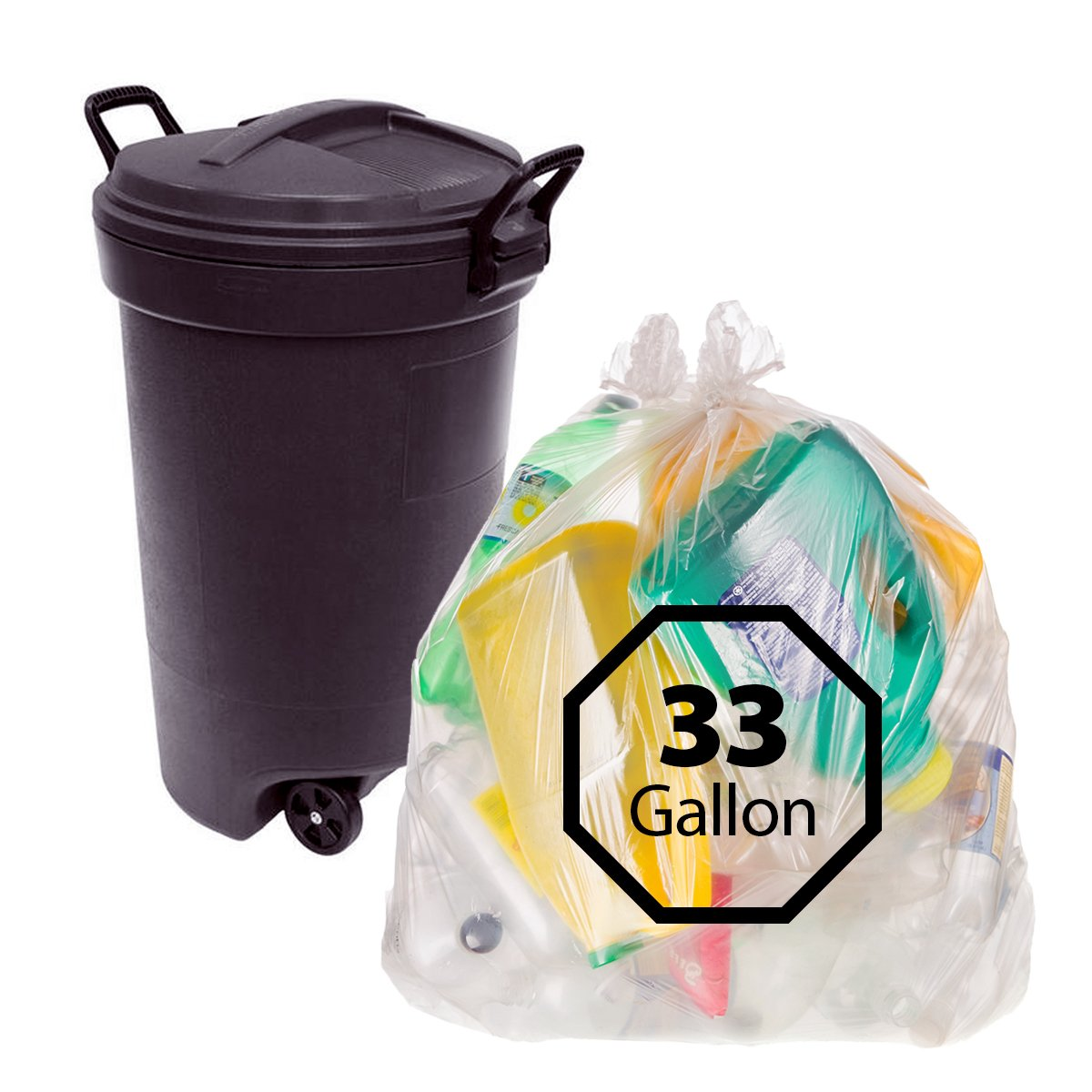 Primode 33 Gallon Recycling Trash Bags - 100 Count By Primode Heavy Duty Clear Garbage Bags For Indoor Or Outdoor Use 33x39 MADE IN THE USA