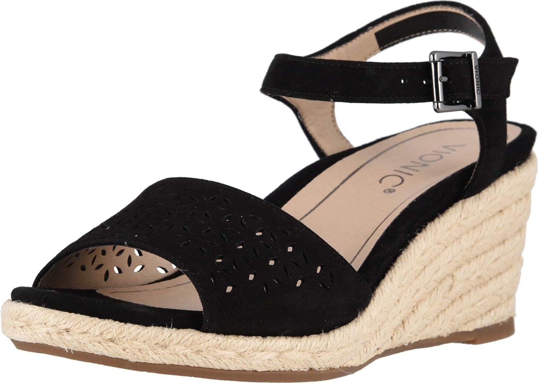 Vionic Women's Tulum Ariel Wedge Sandal - Ladies Espadrille Sandals Concealed Orthotic Support