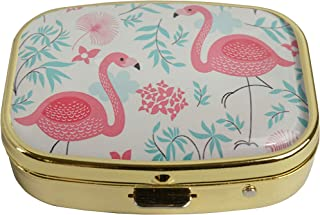 LCTCKP Custom Fashion Square Glass Gold Pill Case Decorative Metal Western Medicine Tablet Container Box (A Pink Flamingo)