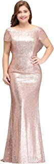 Women Plus Size Rose Gold Sequin Prom Bridesmaid Dresses Evening Gowns Formal