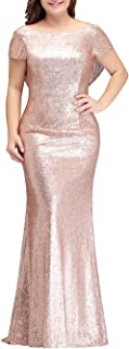 MisShow Women Plus Size Rose Gold Sequin Prom Bridesmaid Dresses Evening Gowns Formal