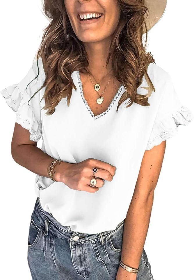 Astylish Womens V Neck Short Sleeve Tops Summer Casual Loose Tunic Shirts Blouses