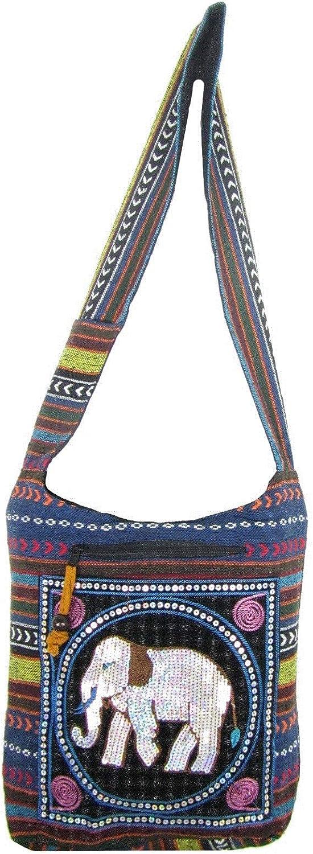 Embroidered Elephant Bag Aztec Crossbody Messenger Thai Hippie Boho Shoulder Handbag Medium
