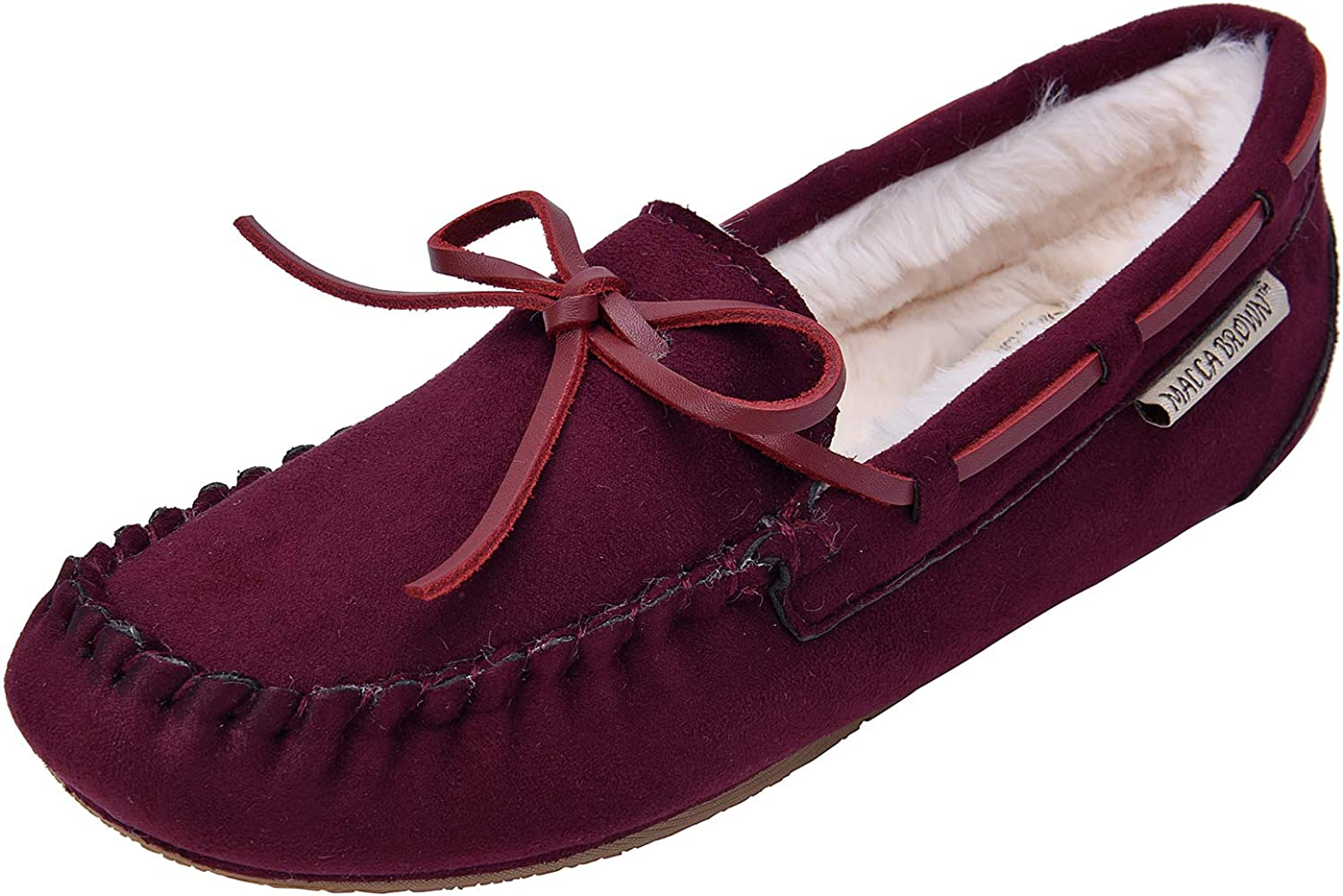 MACCA BROWN Women's Moccasin Slippers Loafer Flats Faux Fur Lined Indoor & Outdoor Slip On