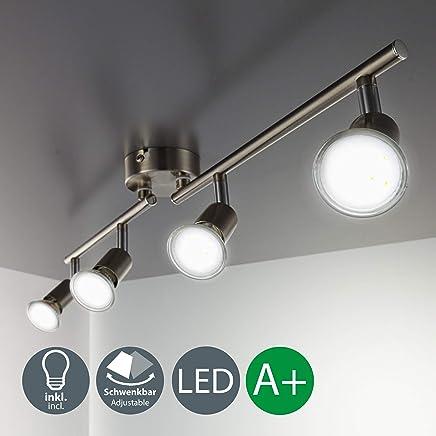 LED Deckenleuchte I dreh- & schwenkbar I matt nickel I 4 x 3W 250LM GU10 Leuchtmittel I IP20 I warmweiß 3000K I Deckenlampe