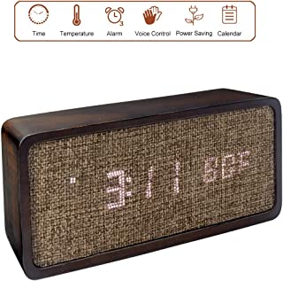 AROMUSTIME 7-Inches Seamless Wooden Digital Alarm Clock with LED Time,Date/Month and Temperature Display, Linen Panel, 3 Alarm Settings, Battery/USB Powered