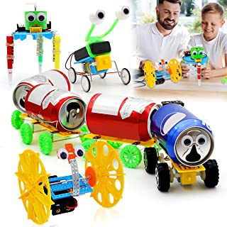 PETUOL Electric Motor Robotic Science Kits, New Year 2020 4 Sets DIY STEM Toys for Kids Science Experiment Kit, Power Train, Balance Car, Reptile Robot, Doodle Robot for Boys and Girls Toys