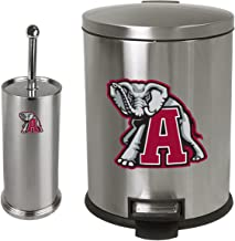 The Furniture Cove New Set - 3.1 Gallon Oval Stainless Steel Step Trash Can Waste Basket and a Stainless Steel Finish Toilet Brush Featuring Your Choice of a Sports Team logo! (Crimson Tide Elephant)