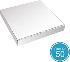 White Cardboard Pizza Boxes by HTTP - 12 x 12 Pizza Box Size, Corrugated, Kraft – 50 Pack