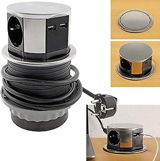 ChiliTec Versenkbare Einbau-Steckdose Edelstahl mit 3X Steckdosen 2X USB-Lädegerät 150cm Zuleitung I 230V 3600W 5V 2,4A I für Küche, Schreibtisch, Arbeitsplatten