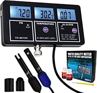 5-in-1 PH EC CF TDS Temperature Water Quality Rechargeable Multi-Parameter Wall-Mount Test Meter with Backlight Continuous Monitor Tester for Aquariums Hydroponics Pool Drinking Water Laboratory