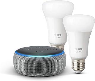 Echo Dot (3ª generazione) - Tessuto grigio mélange + Lampadine intelligenti a LED Philips Hue White, confezione da 2 lampa...