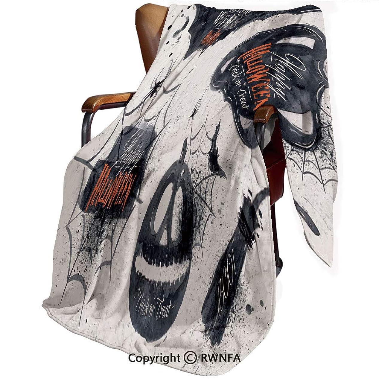 ロースト悪名高い表示印刷者 毛布 シングル ネイビー マイヤー毛布 ハロウィーンシンボルハッピーホリデー魔女はここに住んでいますほうきのくものWeb装飾 ブラックホワイト プレミアム マイクロファイバー 軽い 発熱効果 セミダブル 防寒毛布 洗濯OK 冷房対策 通年使 160x100cm
