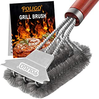 POLIGO Safe Wire Grill Brush and Scraper - Stainless Steel Grill Cleaner Brush Best for Gas Infrared Charcoal Porcelain Cast Iron Grill Wizard Grates - Ideal BBQ Brush Cleaner for Effortless Cleaning