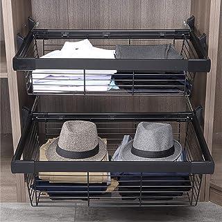 LJ Étagères de rangement pour armoire à vêtements coulissantes, organisateur de tiroir d'armoire coulissant, robuste, tiro...