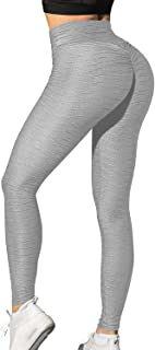 FITTOO Women's High Waist Yoga Pants Tummy Control Scrunched Booty Leggings Workout Running Butt Lift Textured Tights