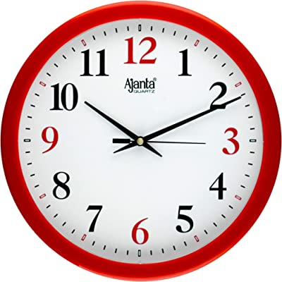 Ajanta Round Wall Clock for Home/Kitchen/Living Room/Office(Red, Step Movement)