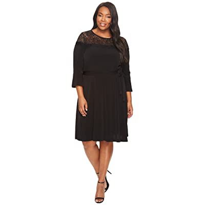 MICHAEL Michael Kors Plus Size Flounce Sleeve Lace Combo Dress (Black) Women