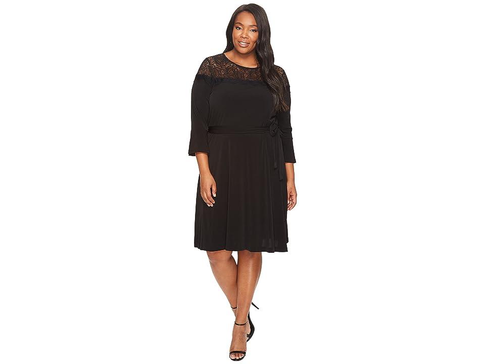 MICHAEL Michael Kors Plus Size Flounce Sleeve Lace Combo Dress (Black) Women