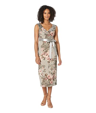 Adrianna Papell Metallic Matlesse Floral Midi Dress with Ribbon (Slate/Blush Multi) Women