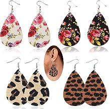 KWHY Leather Earrings for Women Girls Lightweight Faux Leather Leaf Earrings Teardrop Dangle Handmade Jewelry