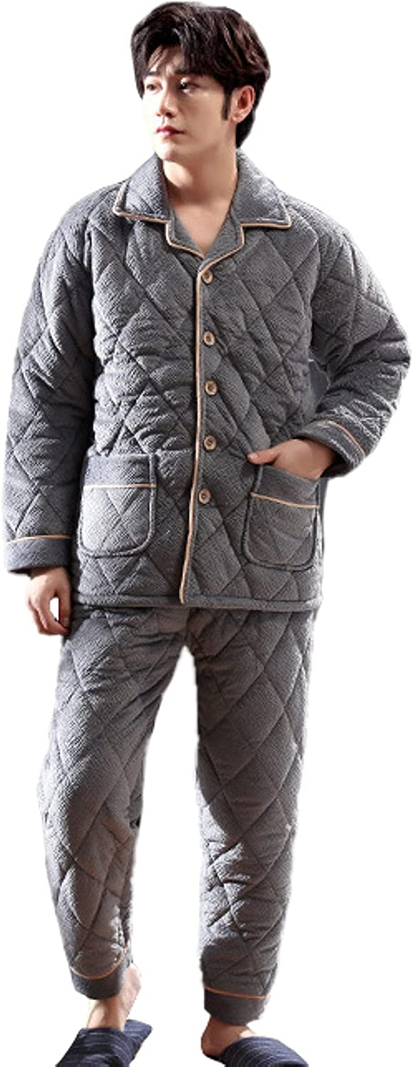 WIITON Pajamas Set Men Winter Three Layer Thickened Warm Comfortable Homewear Casual Two Piece Suit