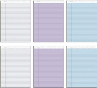 """TOPS Prism+ Writing Pads, 8-1/2"""" x 11-3/4"""", Assorted Colors 2 Each: Gray, Orchid, Blue, Legal Rule, 50 Sheets, Perforated ..."""