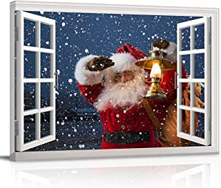 Canvas Print Wall Art Santa Claus Carrying Gifts Coming on Christmas Eve Picture Painting Modern Giclee Framed Artwork for Office/Livingroom/Bedroom Jome Wall Decor 12x16in