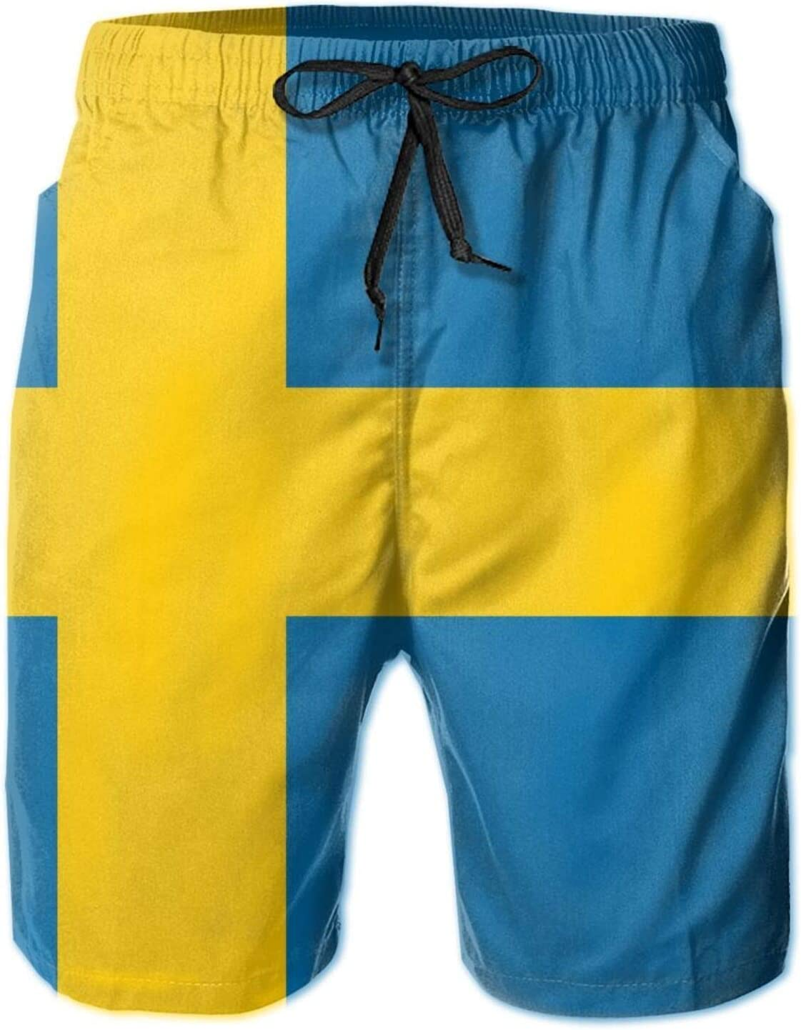 SWEET TANG Mens Beach Board Shorts Swim Trunks, Sweden Flag Sports Running Swim Board Shorts with Mesh Lining and Pocket for Beach Sports Running
