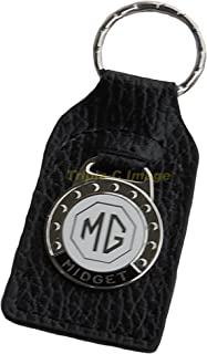Triple-C MG Midget Leather and Enamel Key Ring Key Fob
