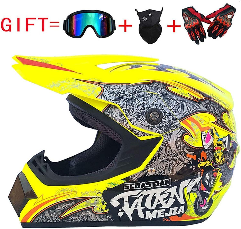 Motocross-Helm, Helm für ATV ATV ATV Cross-Country, Grüneilerbrille Langlaufhandschuhe und Maske (S M L XL),XL B07LBWSSC9  König der Quantität 3dfd6f