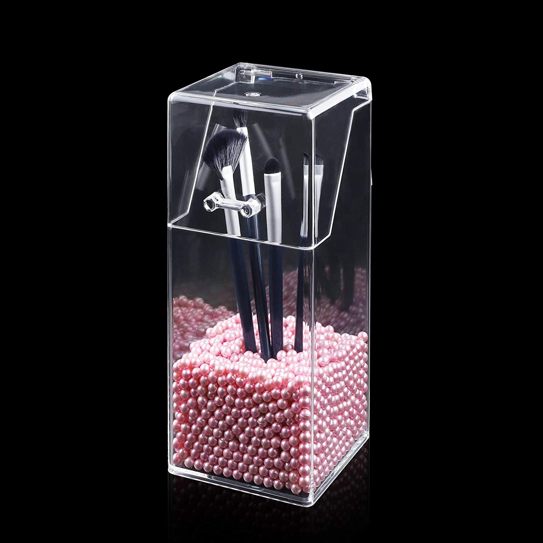 support de pinceaux de maquillage en acrylique avec un lot de perles carr/é Bo/îte de rangement pour pinceaux de maquillage chambre /à coucher GLAITC Organiseur de maquillage rose perle comptoir