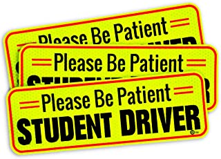 VaygWay Car Student Driver Magnet- Driver Bumper Decal Side Magnet- Please Be Patient Student Driver- Reflective Sign 3 Pk Auto- Kids, Teens, Beginners, Safety Sign